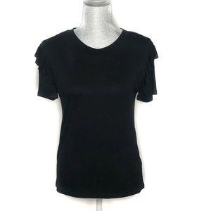Topshop Top Short Sleeve Ruffled Viscose (BB45)